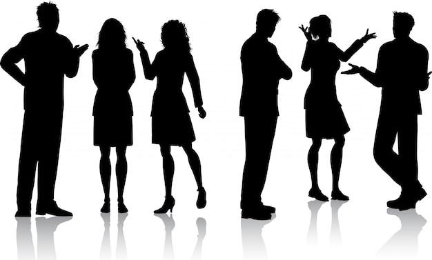 Silhouetten van mensen uit het bedrijfsleven met gesprekken