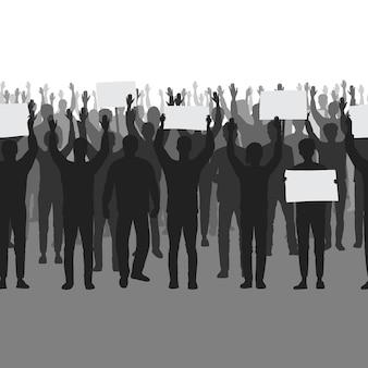 Silhouetten van protesterende mensen met handen omhoog naadloze grens