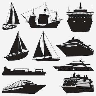 Silhouetten van schepen