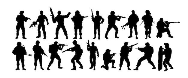 Silhouetten van soldaten special forces gewapende militairen een soldaat staat op wacht rangers