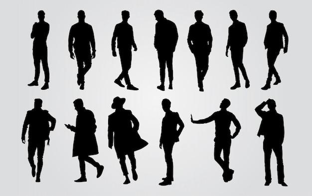 Silhouetten van toevallige mensen op een rij. man silhouet