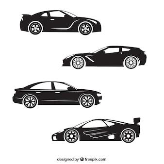 Silhouetten van vier sportwagen