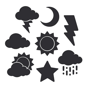 Silhouetten van weersymbolen vector illustratie set van zon halve maan ster wolk bliksem