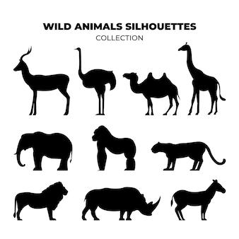 Silhouetten van wilde dieren