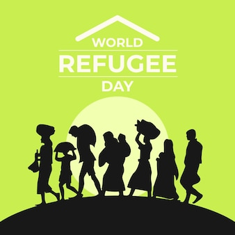 Silhouetten wereld vluchtelingendag evenement