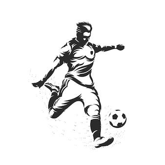 Silhouetvoetballer die een bal schopt