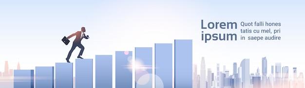 Silhouetzakenman climb financial bar graph business man growth