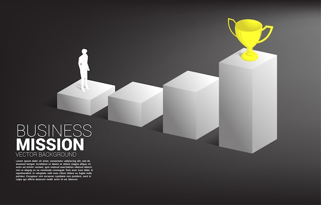Silhouetzakenman die trofee bovenop grafiek plannen te krijgen. bedrijfsconcept van doel en visie missie