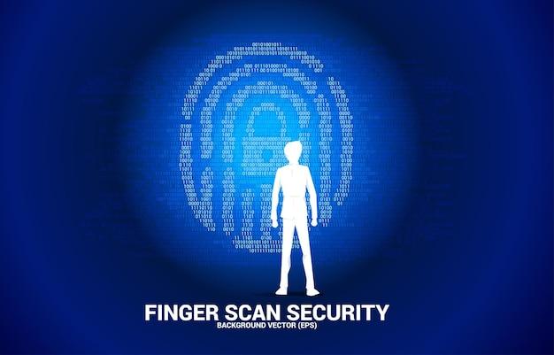 Silhouetzakenman die zich met duimafdruk met het centrumpictogram van het slotstootkussen van één en nul binaire code bevindt. achtergrondconcept voor vingerscantechnologie en privacytoegang.