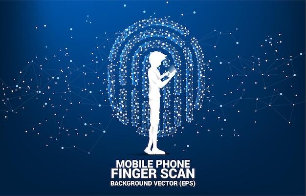 Silhouetzakenman met mobiele telefoon die zich met duimafdrukpictogram bevinden van punt verbindt lijnveelhoek.