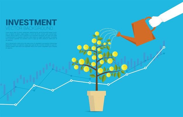 Silhouetzakenmanhand het water geven geldboom met grafiek achtergrondmalplaatje