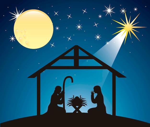 Silhouttes kerstmis kerststal scã¨ne vector illustratie