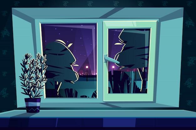 Sill rail met een kunststof raam 's nachts, rozemarijn op een vensterbank.