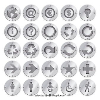 Silver badges met pictogrammen