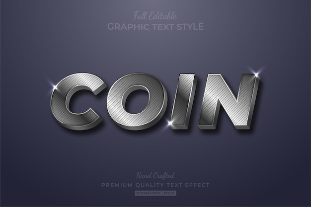 Silver coin strip glow bewerkbare teksteffect lettertypestijl