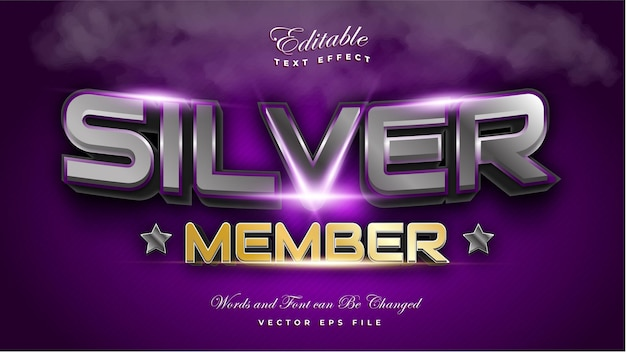 Silver member text effect