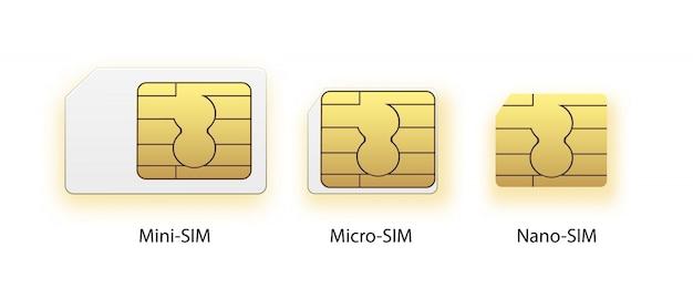 Sim-kaart pictogram symbool concept. nieuwe chip mobiele cellulaire communicatietechnologie. simkaarten instellen voor mobiele apparaten met chip.