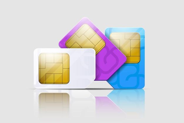 Simkaarten voor mobiele telefoons. mobiele en draadloze communicatietechnologieën. netwerkchip elektronische verbinding.