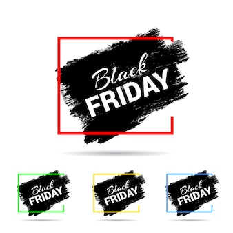 Simple black friday typography on black paint brush mark