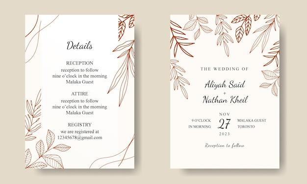 Simple line art leaf uitnodigingskaartsjabloon