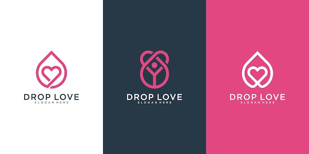 Simple love drop logo template met overlappende lijnen concept