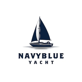 Simple sailing yacht silhouette logo design inspiratie
