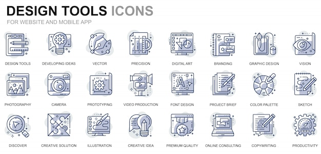 Simple set design tools line icons voor website en mobiele apps