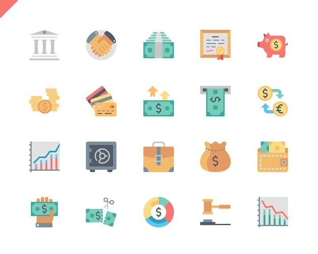 Simple set finance flat icons voor website en mobiele apps. Premium Vector