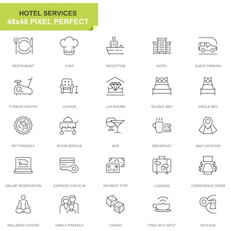 Simple set hotel service lijn pictogrammen