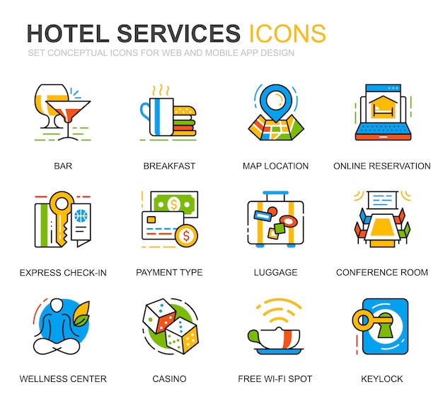 Simple set hotel service line icons voor website