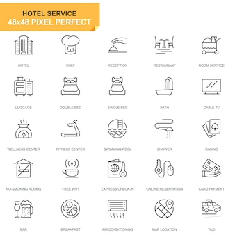 Simple set hotel services lijn pictogrammen