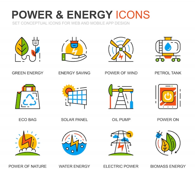 Simple set power industry en energy line icons voor website