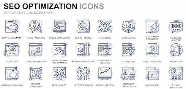 Simple set seo en web optimization line icons voor website en mobiele apps
