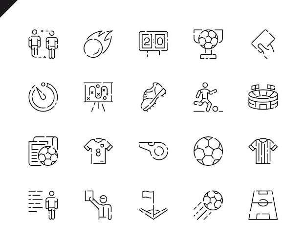 Simple set soccer line icons voor website en mobiele apps.