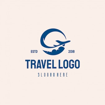 Simple travel logo vintage retro style logo ontwerpt vector
