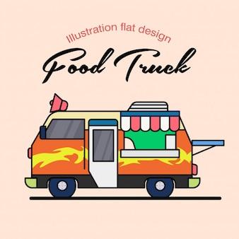 Simpleillustration voedsel vrachtwagen achtergrond
