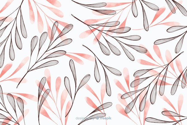 Simplistische achtergrond met hand getrokken bladeren