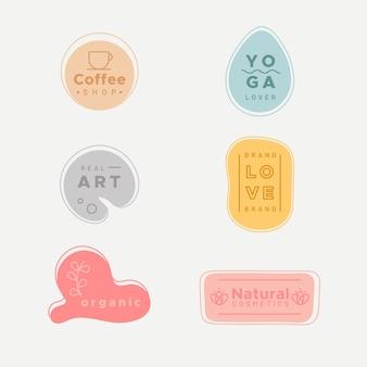 Simplistische logo-collectie met pastelkleuren