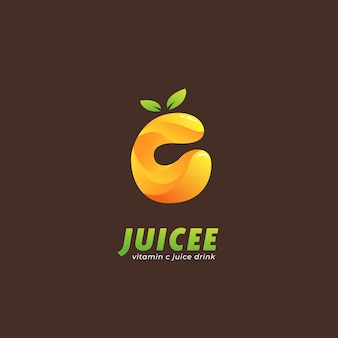 Sinaasappel-citroen vitamine c-sap-logo in letter c-vormpictogram