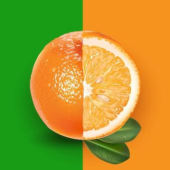 Sinaasappel en bladeren