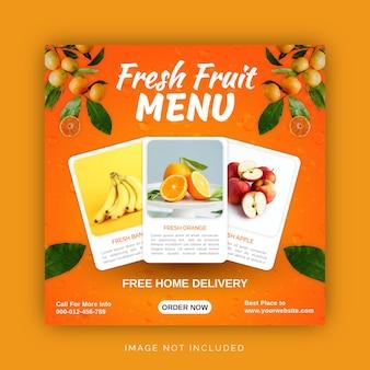 Sinaasappel en citroen vers fruitsap menu social media post-sjabloon