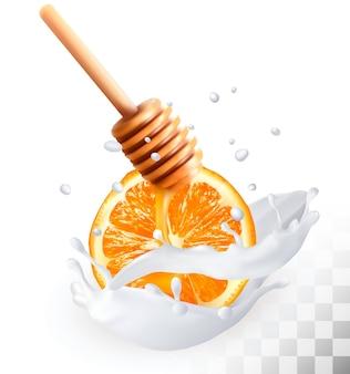 Sinaasappel en honing in een melk splash op een transparante achtergrond