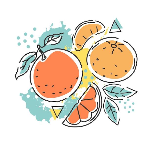 Sinaasappel en mandarijn op een abstracte achtergrond. ontwerp van verpakking. vector handillustratie.