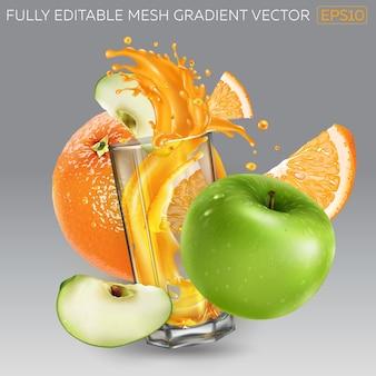 Sinaasappel, groene appel en een glas opspattend vruchtensap.