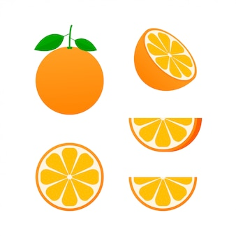 Sinaasappel heel en plakjes sinaasappels.