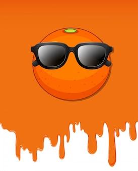 Sinaasappel met water druipende achtergrond