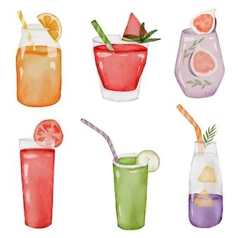 Sinaasappel, watermeloen, ananas, tomaat, guavesap in glas, set van vruchtensap in aquarel stijl