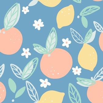 Sinaasappelen en citroenen naadloos patroon met bladerenvector.