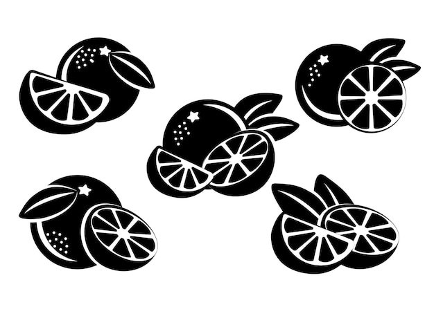 Sinaasappelen zwart-wit silhouet. vector in vlakke stijl