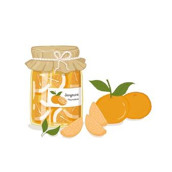 Sinaasappelmarmelade, mandarijn, mandarijnjam, sinaasappelblad, jam, sinaasappelvlees, mandarijn, jam in een glazen fles, zelfgemaakte sinaasappeljam